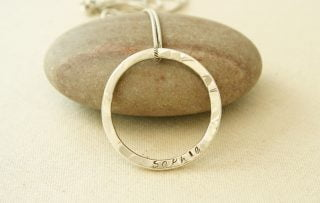 Win a sterling silver personalised hammered circle pendant win a sterling silver personalised hammered circle pendant mozeypictures Images